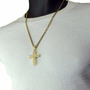 "Mens Cross Necklace 14k Gold 24"" Cuban Necklace"
